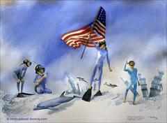 CONDUIRE LES DAUPHINS ET LES PLONGEURS VERS UN MONDE SOUS-MARIN DE PAIX ET DE LIBERTE - Leading dolphins and people to a peaceful underwater world, a tribute to 9/11 victims - by Pascal
