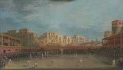 Darstellung eines Ballspiels im Valle Aragonese in Neapel