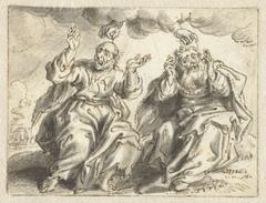 De hand van God plukt een haar uit de hoofden van twee zittende mannen