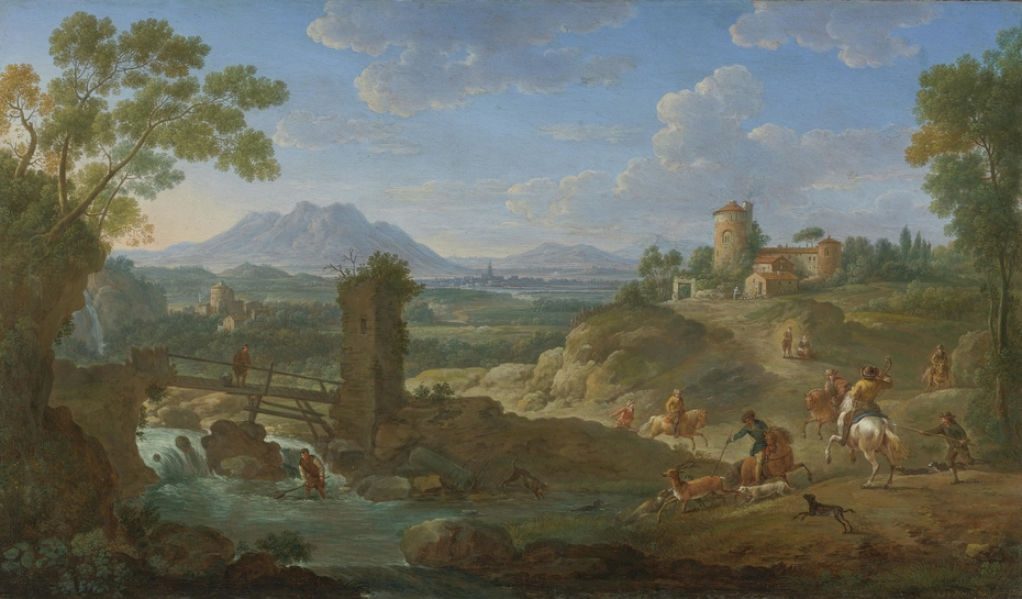 Elegant hunting party in an extensive landscape with mountains beyond