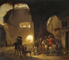 Falcon hunters in front of an inn in a ruin