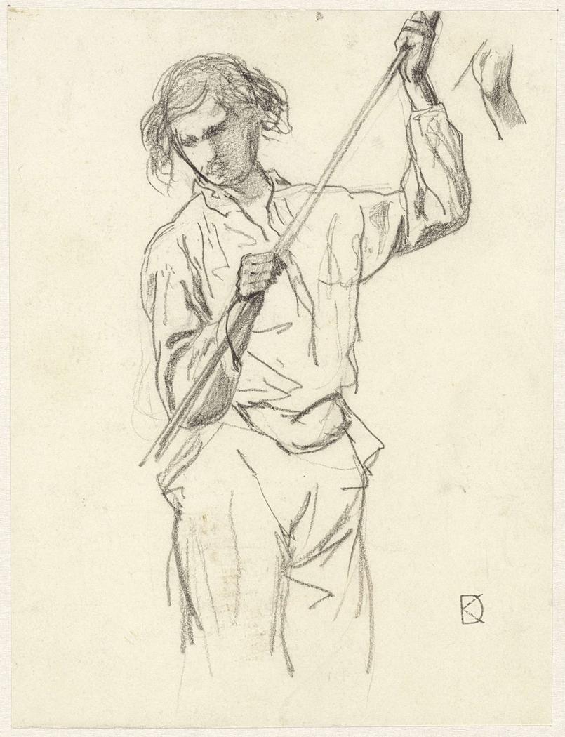 Figuurstudie van een man met een stok in de hand