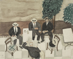 Four men in a coffee-house, painted unawares