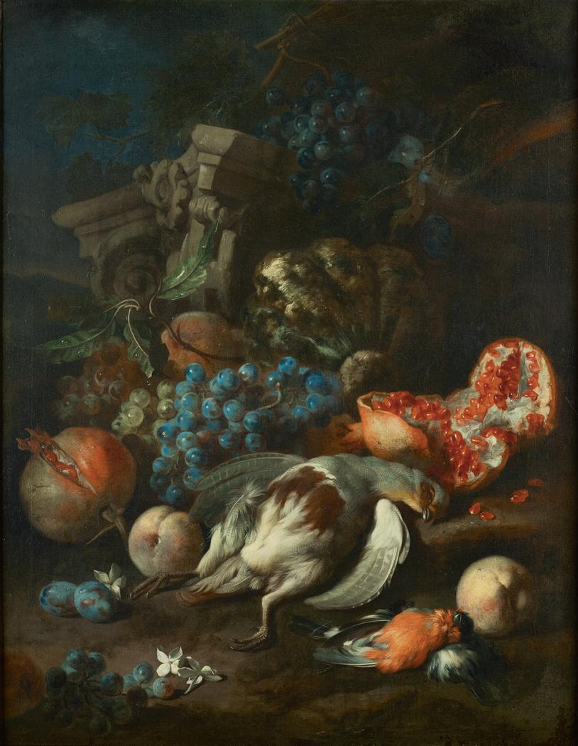 Früchtestück mit totem Rebhuhn und Gimpelmännchen