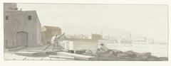 Gezicht op de haven van Bari met de kade