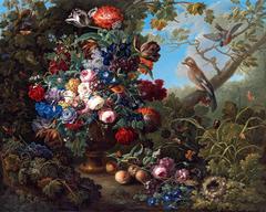 Großes Blumenstillleben mit Vögeln