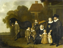 Group Portrait of the Meebeeck Cruywagen Family at the Gate of their Country Home on the Uitweg near Amsterdam