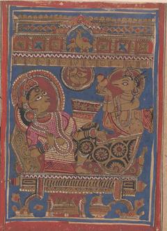 Harinaigamesin Brings the Embryo to Queen Trisala: Folio from a Kalpasutra Manuscript