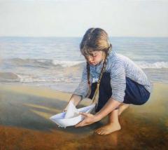 """""""Χάρτινο καραβάκι"""" /"""" Paper boat"""" , 60 x 70 cm, oil on panel."""
