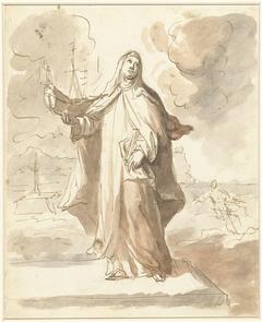 Heilige Brigitta, staande met het schip in de rechterhand
