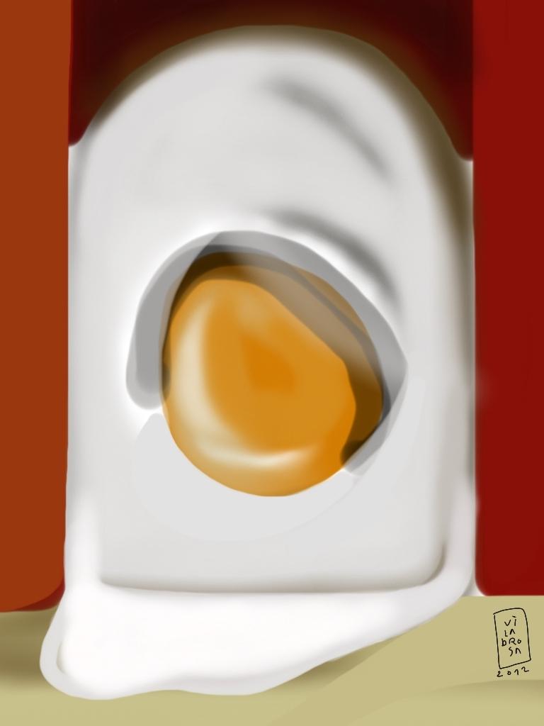 huevo frito en escena.
