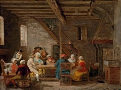 Interior of an inn with cardplayers and elegant figures