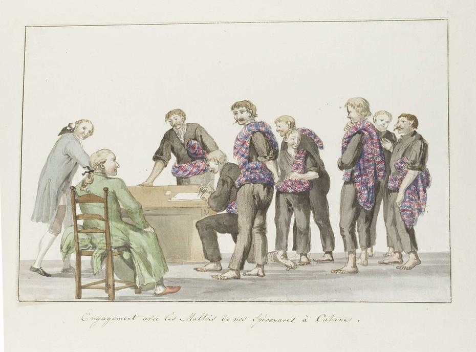 Kennismaking met matrozen van de Speronares schepen afkomstig uit Malta bij Catanië