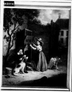 Kinderen met hond in achtertuin