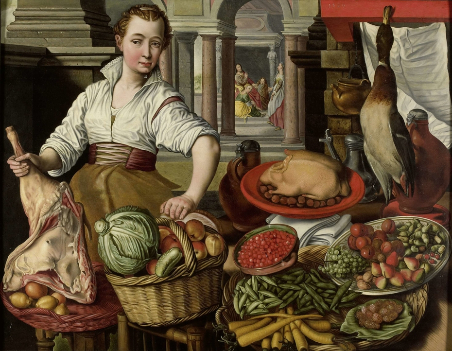 Kitchen Scene, with Jesus in the House of Martha and Mary in the background