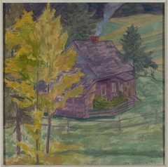 Landscape with a house among trees