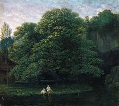 Landscape with two bathing children