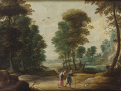 Landschaft mit wanderndem Dichter und Fama