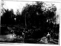 Landschap met boerenwagens in een stroom (