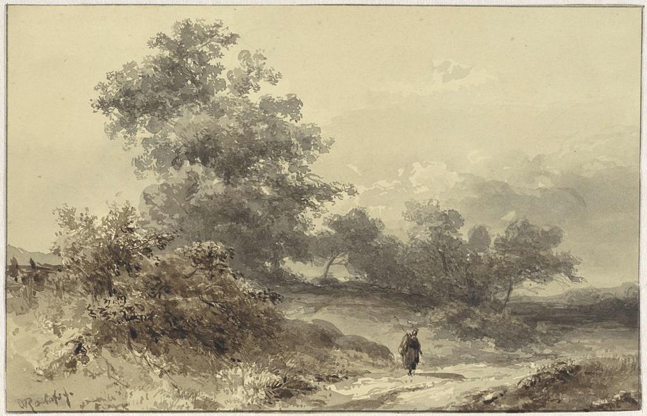 Landschap met bossage en een figuur op een landweg