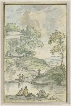 Landschap met ronde tempel
