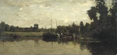 Landschap met schepen op een rivier in de avond