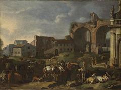 Le Campo Vaccino avec la basilique de Maxence