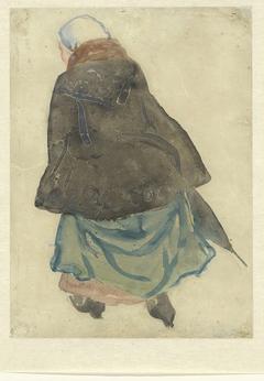 Lopende vrouw met cape en parapluie, op de rug gezien