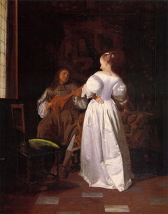 Man playing the cithern and a young woman in an interior