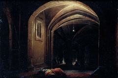 Men Sleeping in a Room with lighted Arches