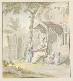 Moeder met kinderen zittend voor huis