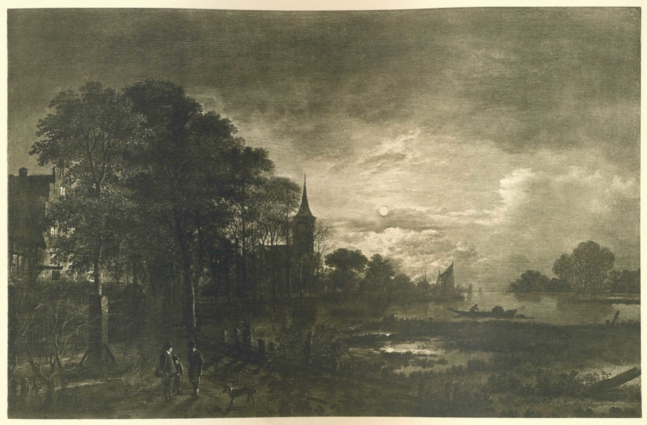 Moonlight on a River before a Town