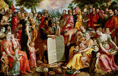 Moses Showing the Tablets of the Law to the Israelites, with Portraits of Members of the Panhuys Family, their Relatives and Friends