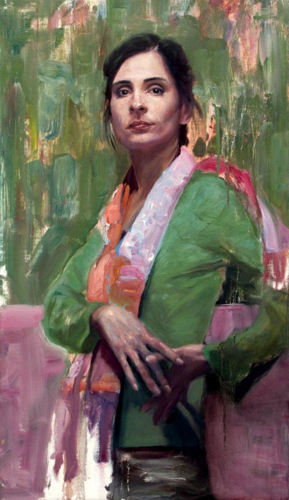 Mujer sobre fondo verde (Clair)
