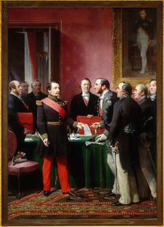 Napoléon III remettant au baron Haussmann le décret d'annexion des communes limitrophes