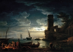 Night: Mediterranean Coast Scene with Fishermen and Boats