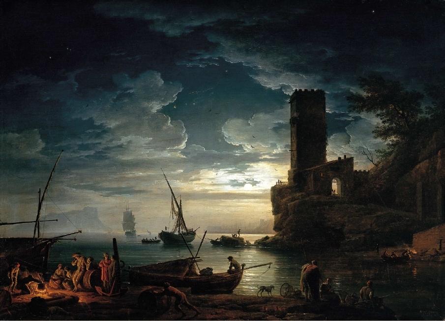 Night: Mediterranean Coast Scene with Fishermen and Boats