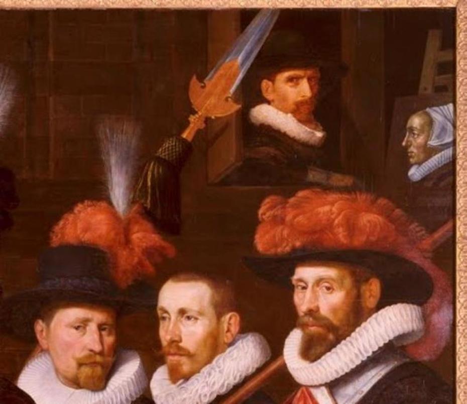 Officieren van het geel-oranje vendel van kapitein Cornelis Willemsz. van Kerchem