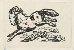 Ontwerp voor een vignet voor het maandblad voor Beeldende Kunsten: springend paard