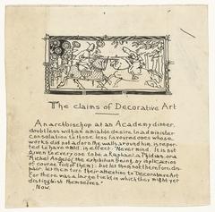 Ontwerp voor voorwoord (?) van The claims of Decorative Art met illustratie van steekspel