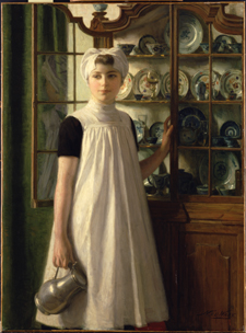 Orphan girl at porcelain cupboard