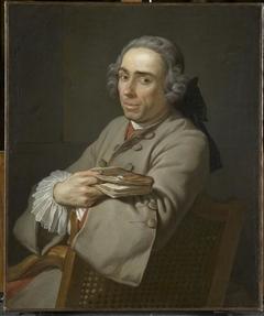 Portrait d'homme en habit gris et gilet rouge