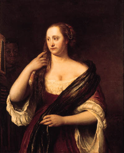 Portrait of a young woman looking into a mirror, holded by a black servant