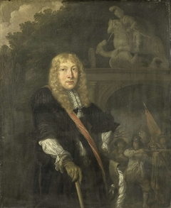 Portrait of an officer of the Leiden civic guard in front of the gate of the headquarters of the St. George guards