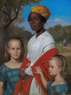 Portrait of Otto Marstrand's two daughters and their nanny