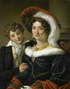 Portrait of Rudolphina Wilhelmina Elizabeth de Sturler, second Wife of Count Johannes van den Bosch with their Son Richard Leeuwenhart