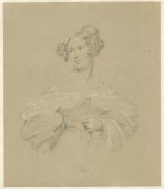 Portret van een dame, ten halven lijve, naar links gewend