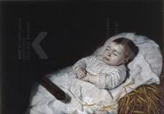 Portret van een kind op zijn doodsbed