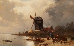 Post Mill on the Shore of a Lake