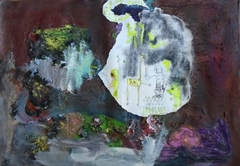 """Saatchi Art Artist: Evangelos Papapostolou; Acrylic 2015 Painting """"the fish bubble thoughts, the sucrifice of the giraffe for the lost baby..."""""""